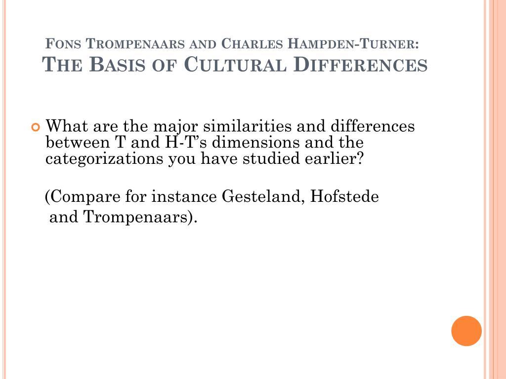 """geert hofstede and fons trompenaars Geert hofstede: az üzlet hullámain: a nemzeti kultúrák különbségei  charles  hampden-turner – fons trompenaars: válasz geert hofstede-nek (1997) """"."""