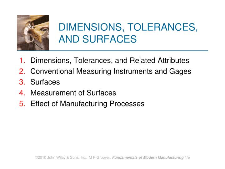 Dimensions tolerances and surfaces