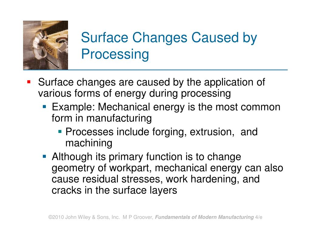 Surface Changes Caused by Processing