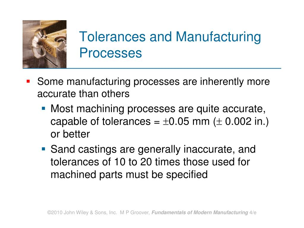 Tolerances and Manufacturing Processes