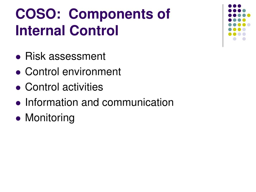 COSO:  Components of Internal Control