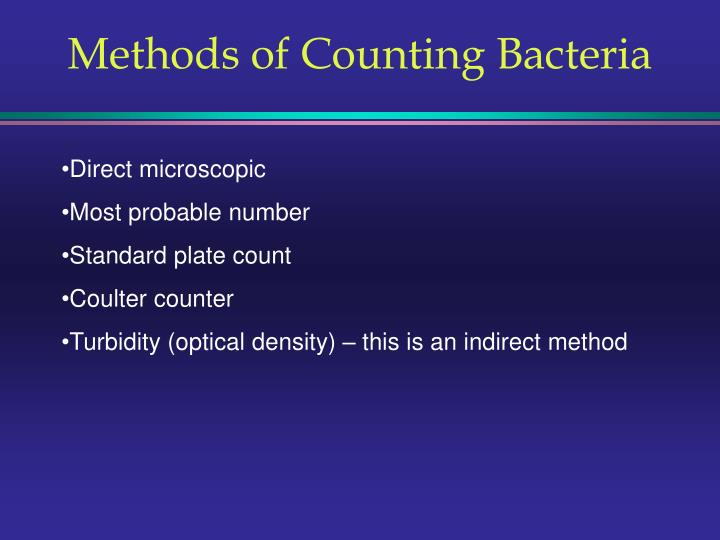 Methods of Counting Bacteria