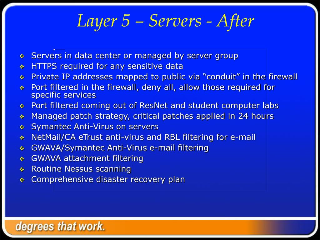 Layer 5 – Servers - After
