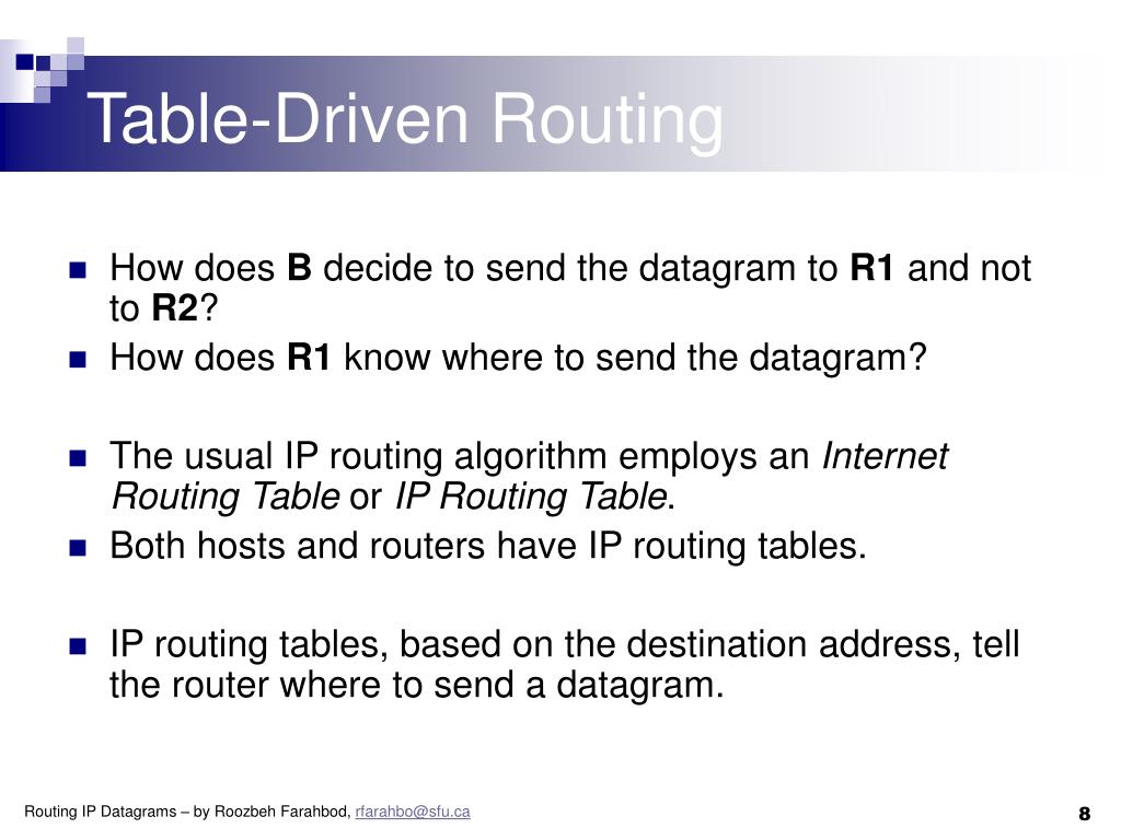 Table-Driven Routing