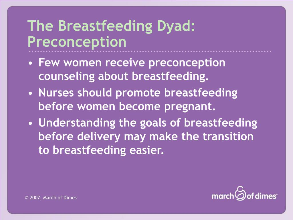 The Breastfeeding Dyad: Preconception