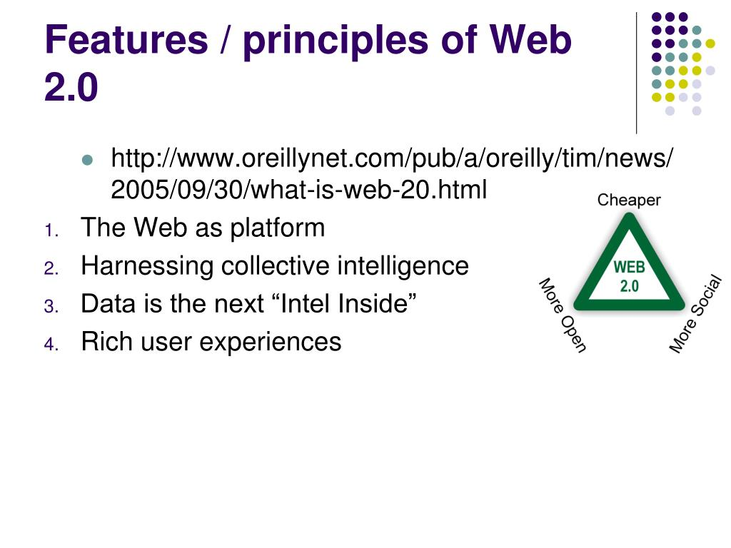 Features / principles of Web 2.0