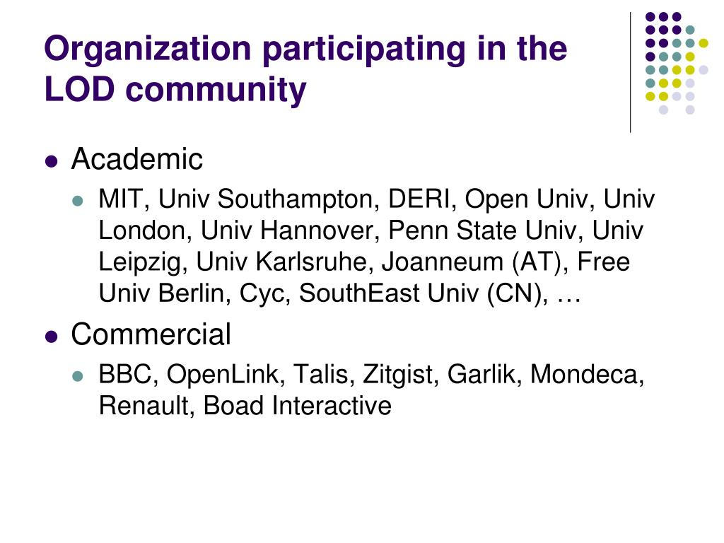 Organization participating in the LOD community