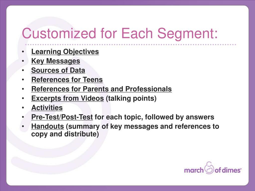 Customized for Each Segment: