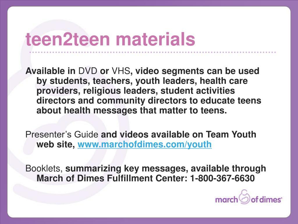 teen2teen materials