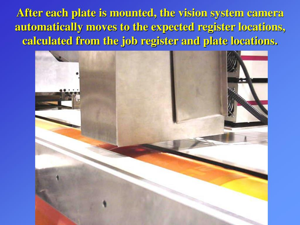 After each plate is mounted, the vision system camera automatically moves to the expected register locations, calculated from the job register and plate locations.