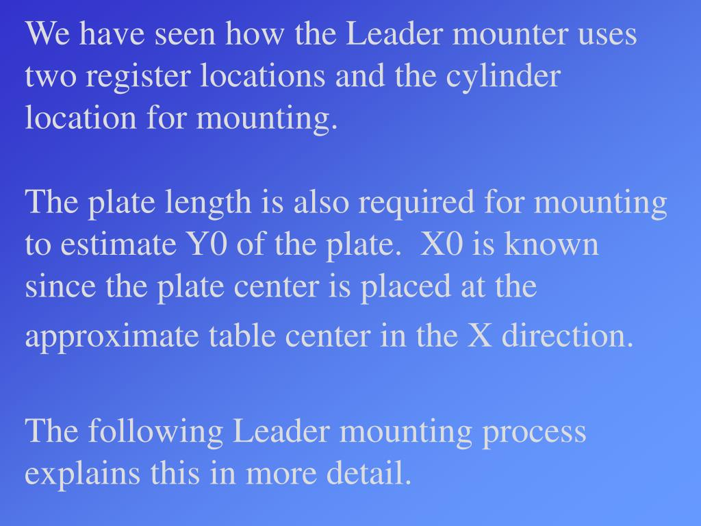 We have seen how the Leader mounter uses two register locations and the cylinder location for mounting.