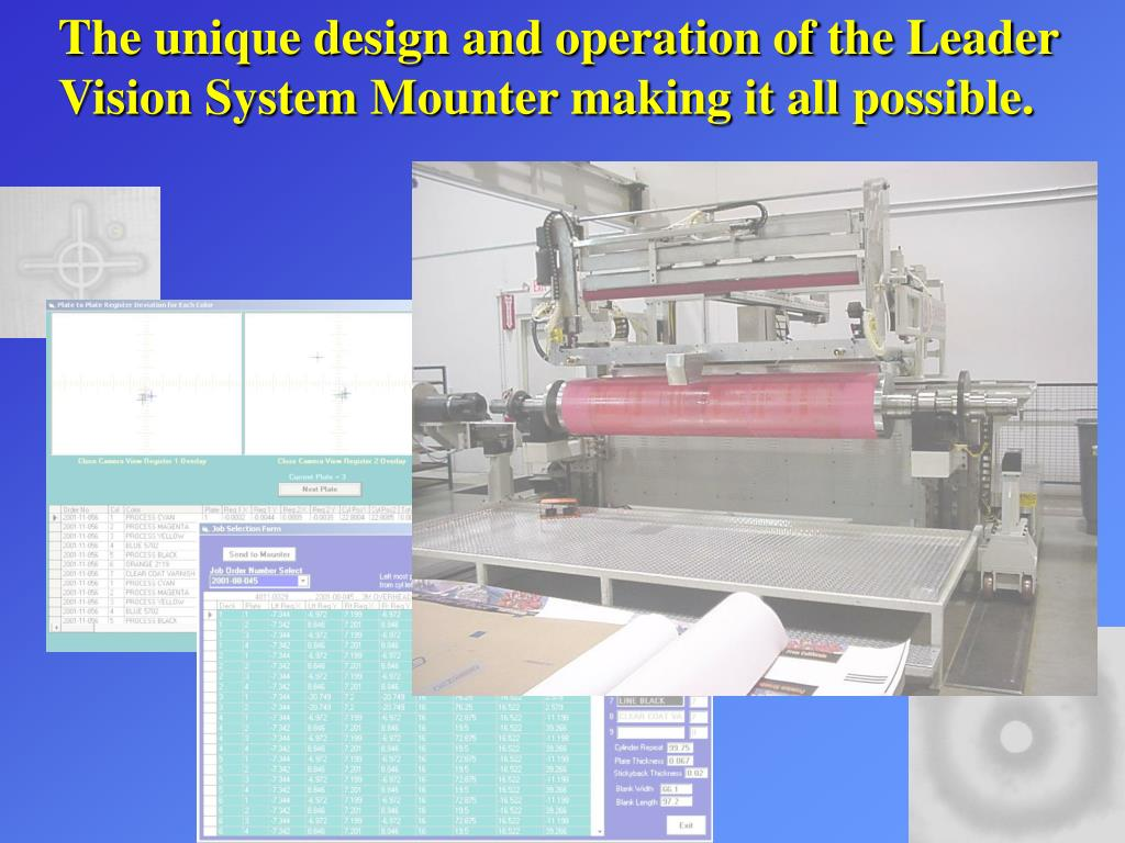 The unique design and operation of the Leader Vision System Mounter making it all possible.