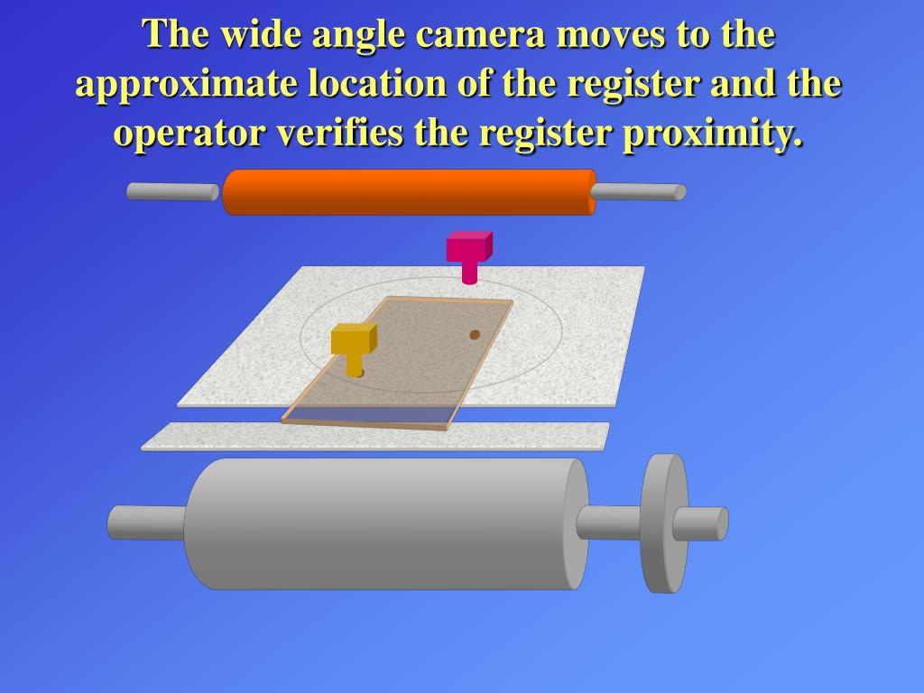 The wide angle camera moves to the approximate location of the register and the operator verifies the register proximity.