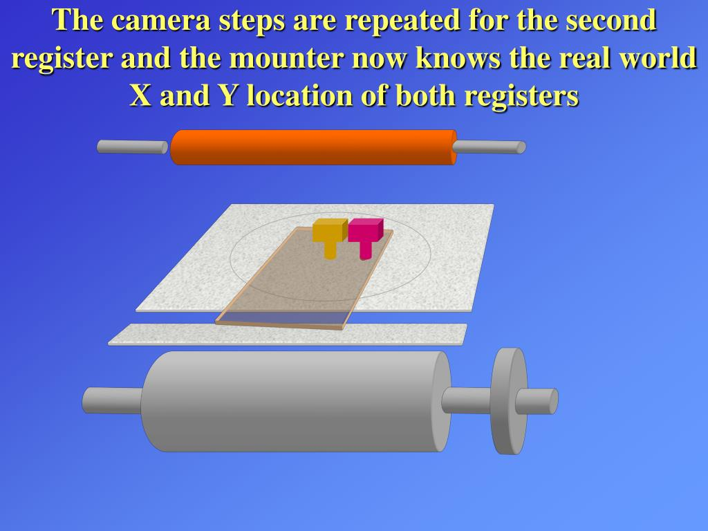 The camera steps are repeated for the second register and the mounter now knows the real world X and Y location of both registers