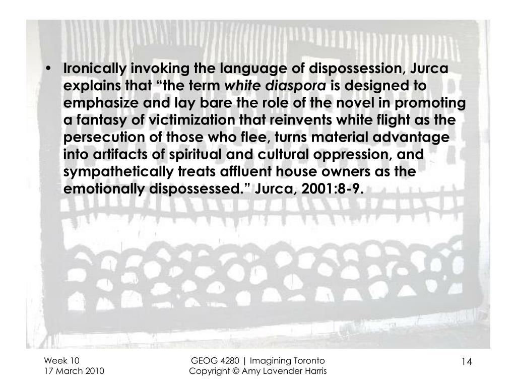 "Ironically invoking the language of dispossession, Jurca explains that ""the term"
