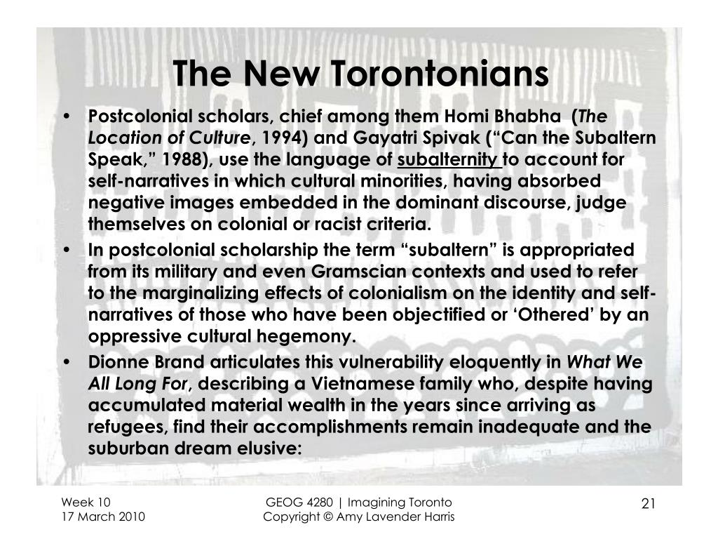 The New Torontonians
