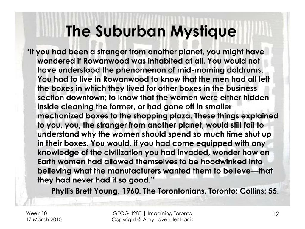 The Suburban Mystique