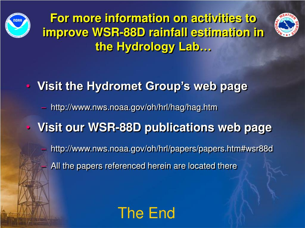 For more information on activities to improve WSR-88D rainfall estimation in the Hydrology Lab…