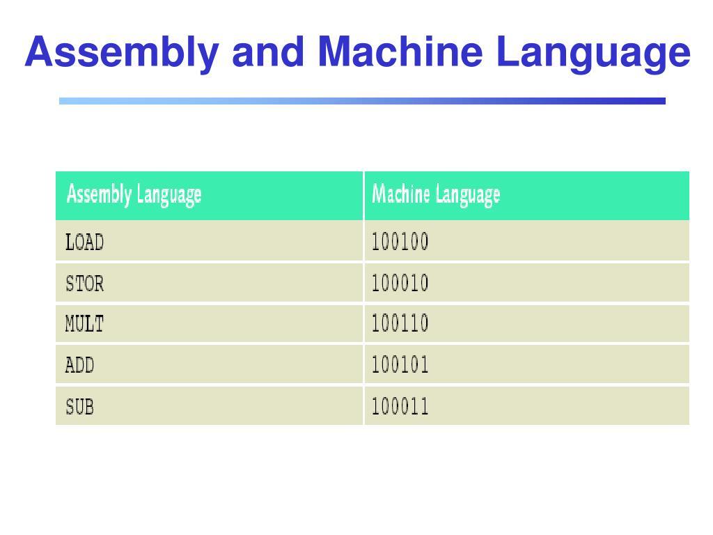 Assembly and Machine Language