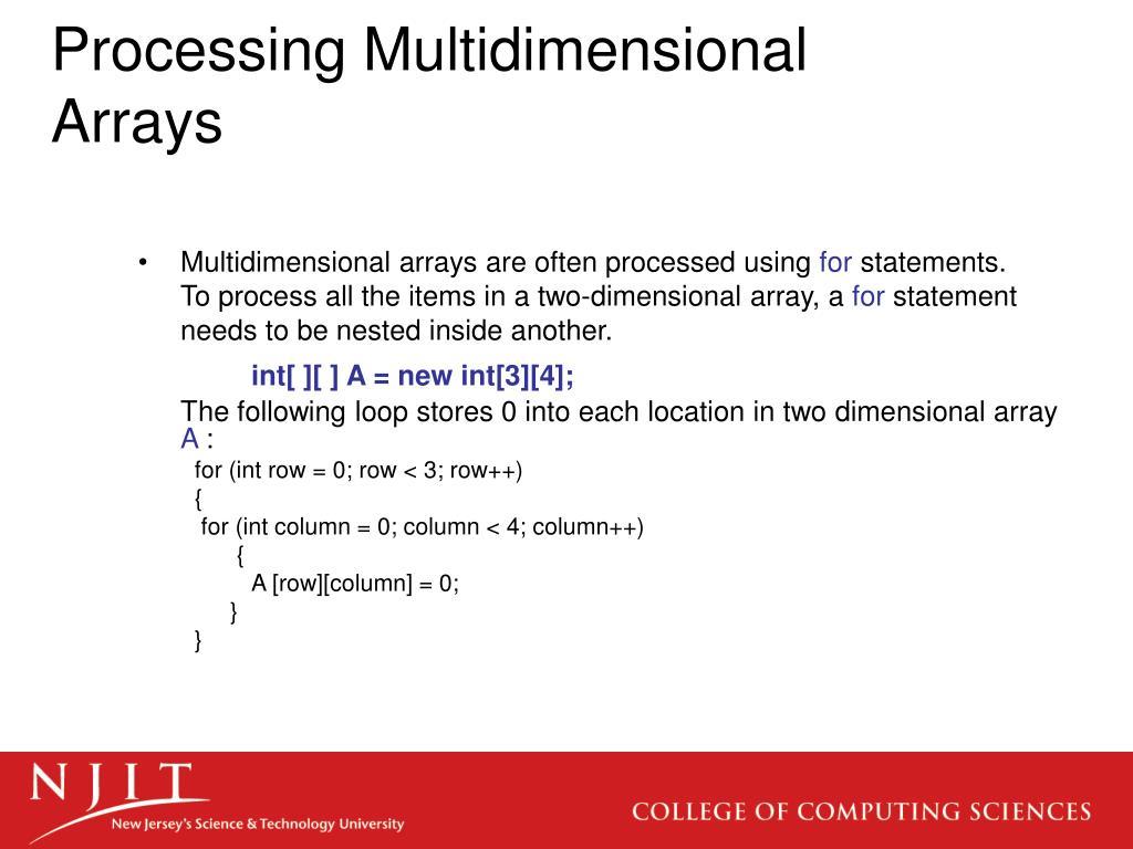 Processing Multidimensional Arrays