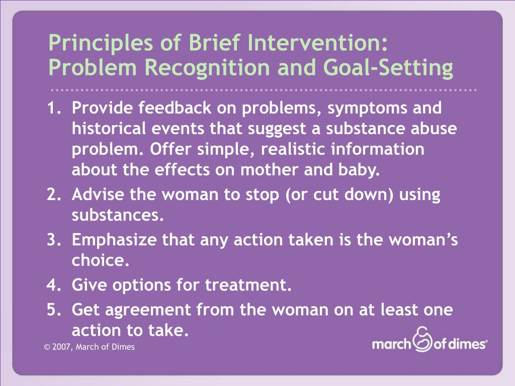 Principles of Brief Intervention:
