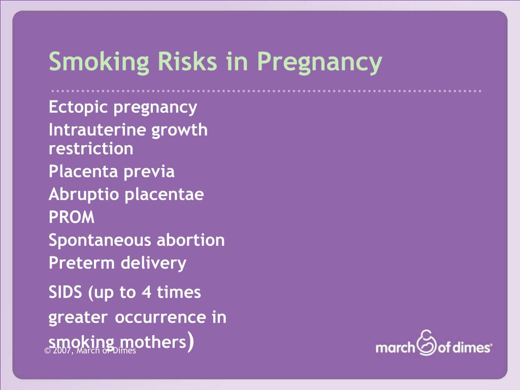 Smoking Risks in Pregnancy
