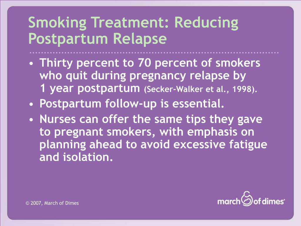 Smoking Treatment: Reducing Postpartum Relapse