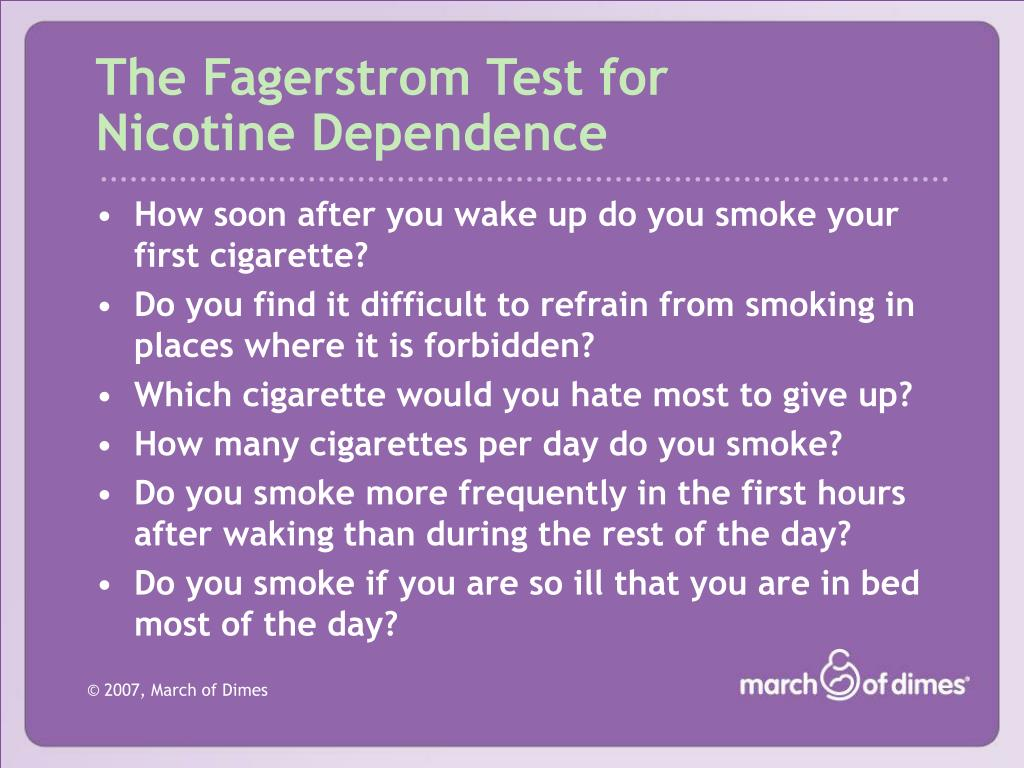 The Fagerstrom Test for