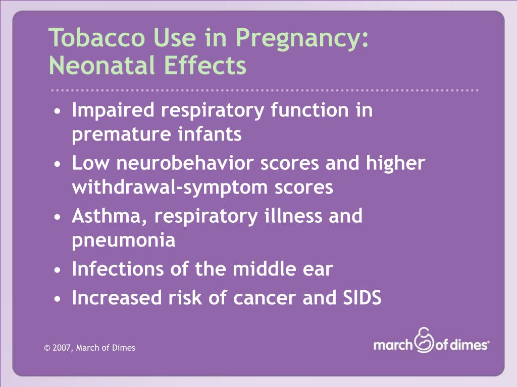 Tobacco Use in Pregnancy: Neonatal Effects