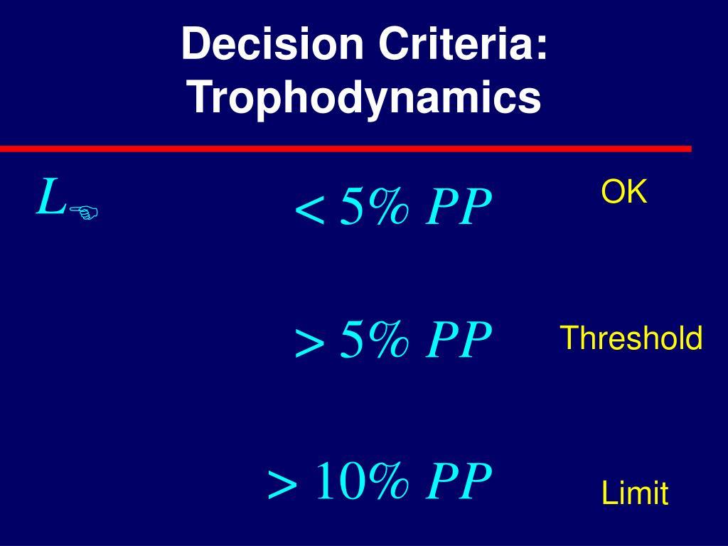 Decision Criteria: Trophodynamics