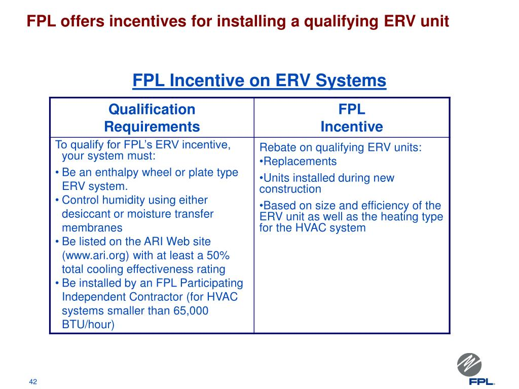 FPL offers incentives for installing a qualifying ERV unit