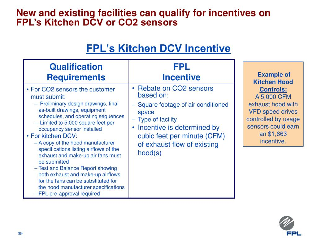 New and existing facilities can qualify for incentives on FPL's Kitchen DCV or CO2 sensors