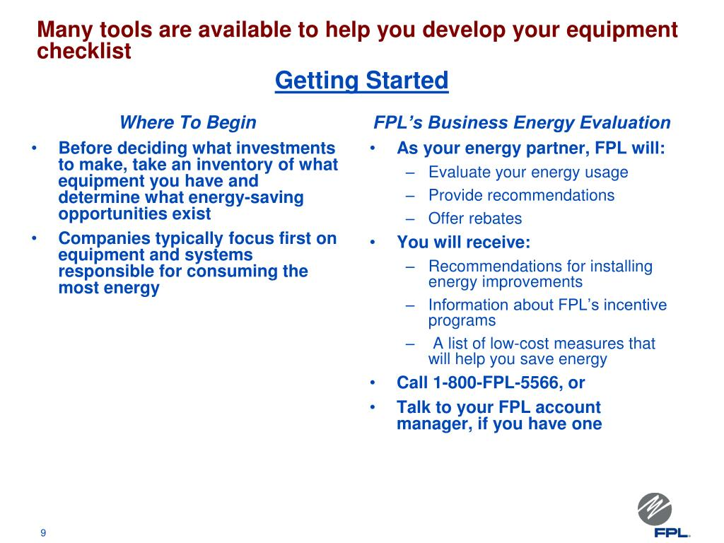 Many tools are available to help you develop your equipment checklist