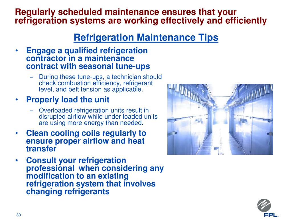 Regularly scheduled maintenance ensures that your refrigeration systems are working effectively and efficiently