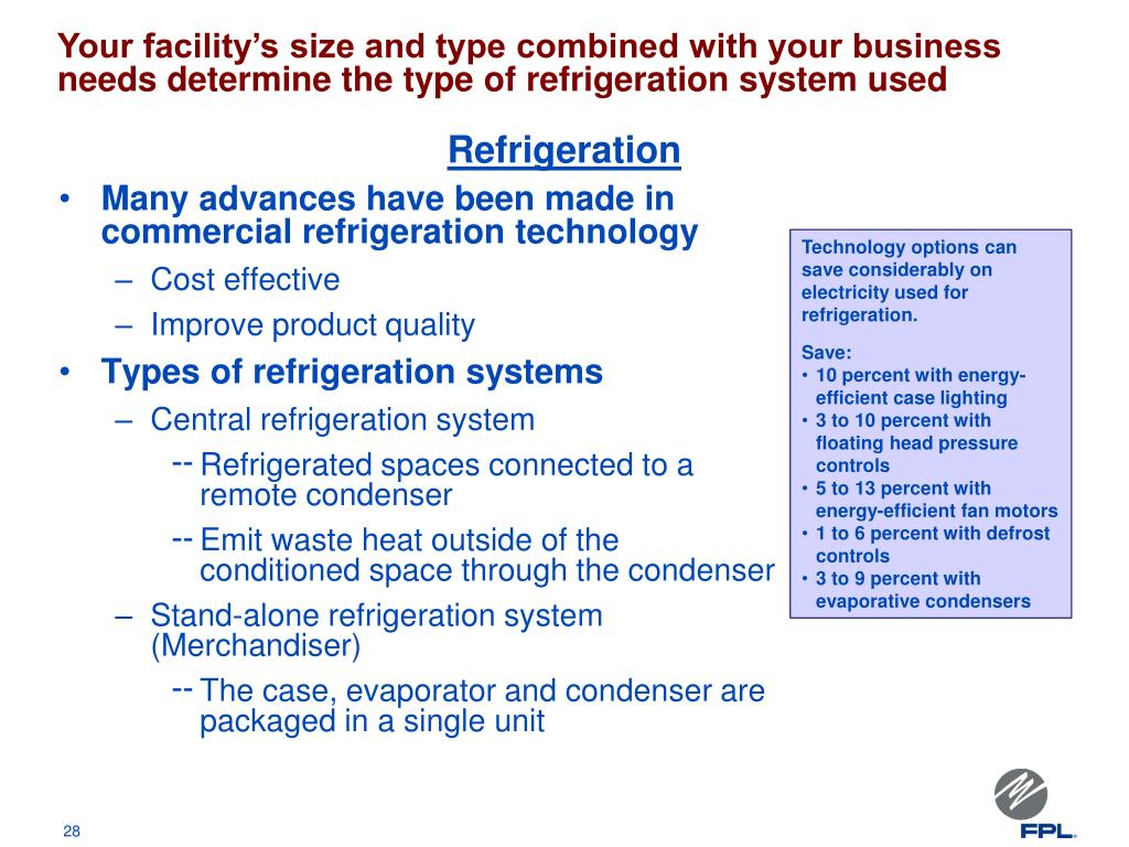Your facility's size and type combined with your business needs determine the type of refrigeration system used