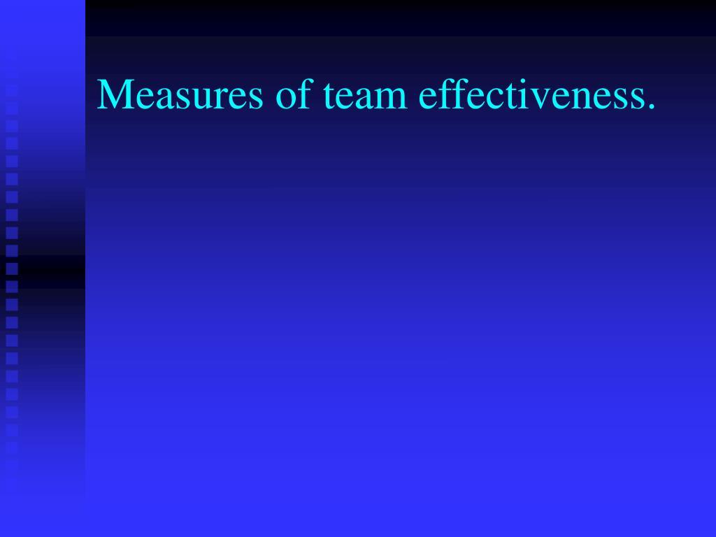 Measures of team effectiveness.