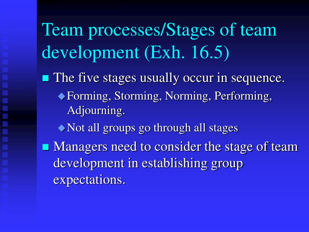 Team processes/Stages of team development (Exh. 16.5)