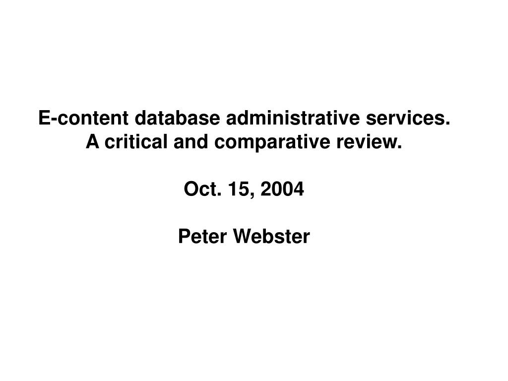 E-content database administrative services.