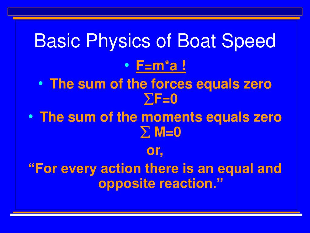 Basic Physics of Boat Speed