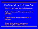 the goal s from physics are