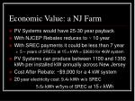 economic value a nj farm