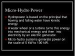 micro hydro power