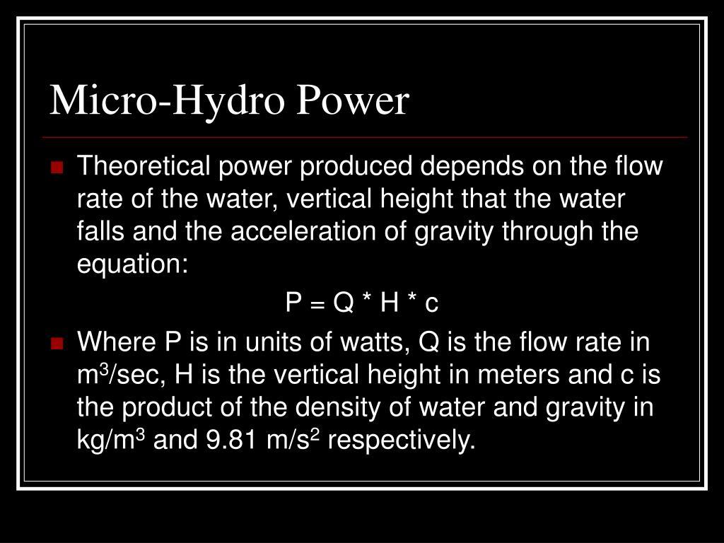 Micro-Hydro Power