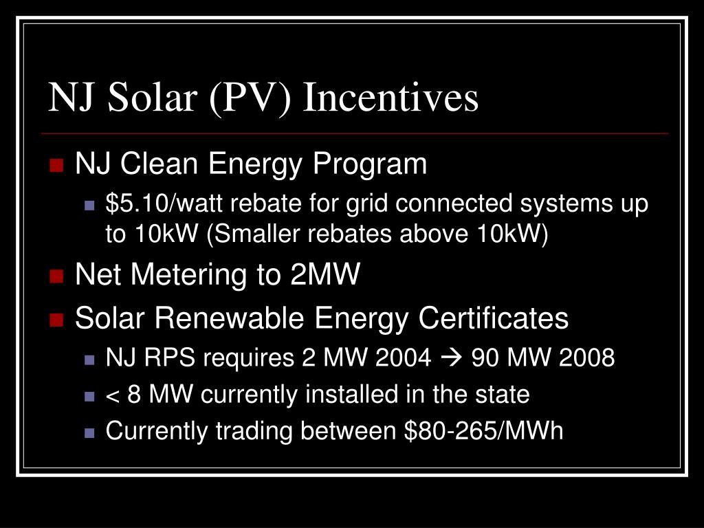 NJ Solar (PV) Incentives