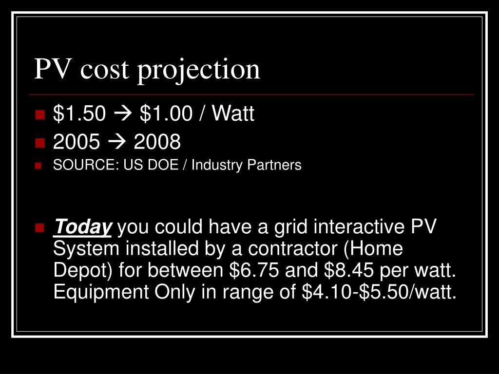 PV cost projection