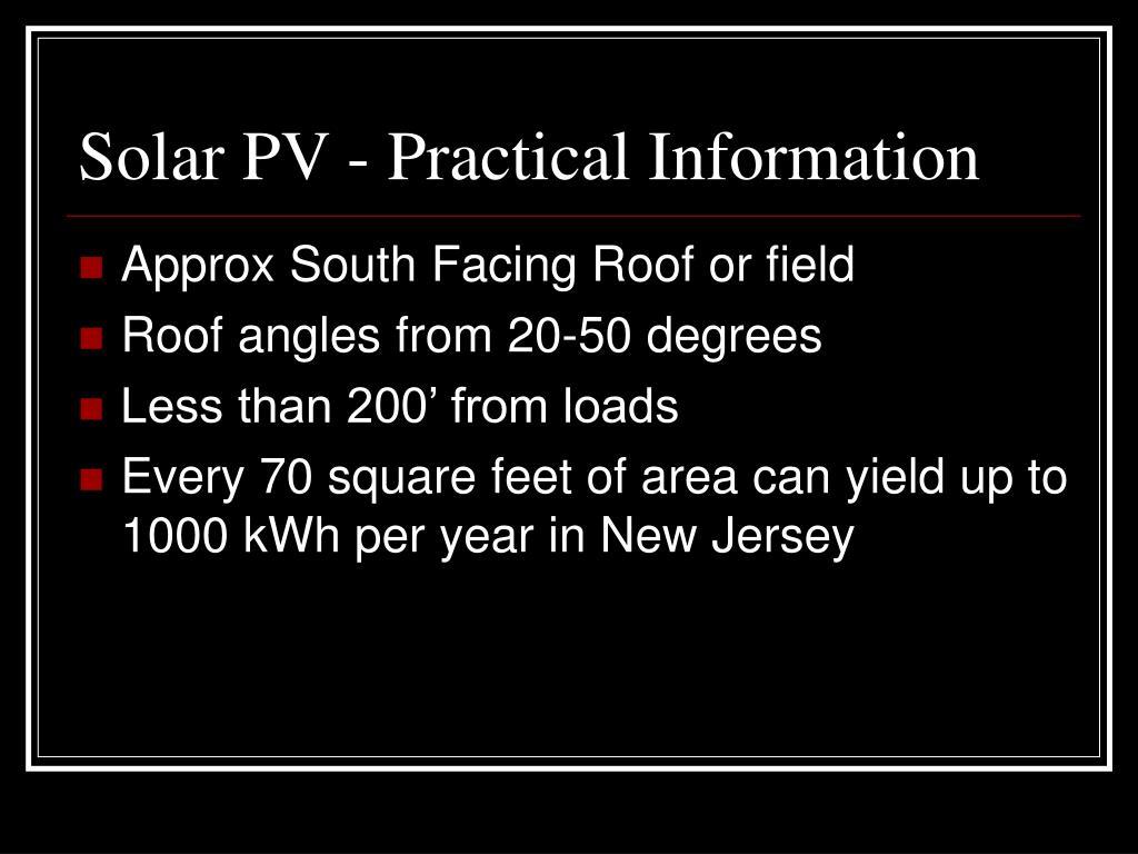 Solar PV - Practical Information