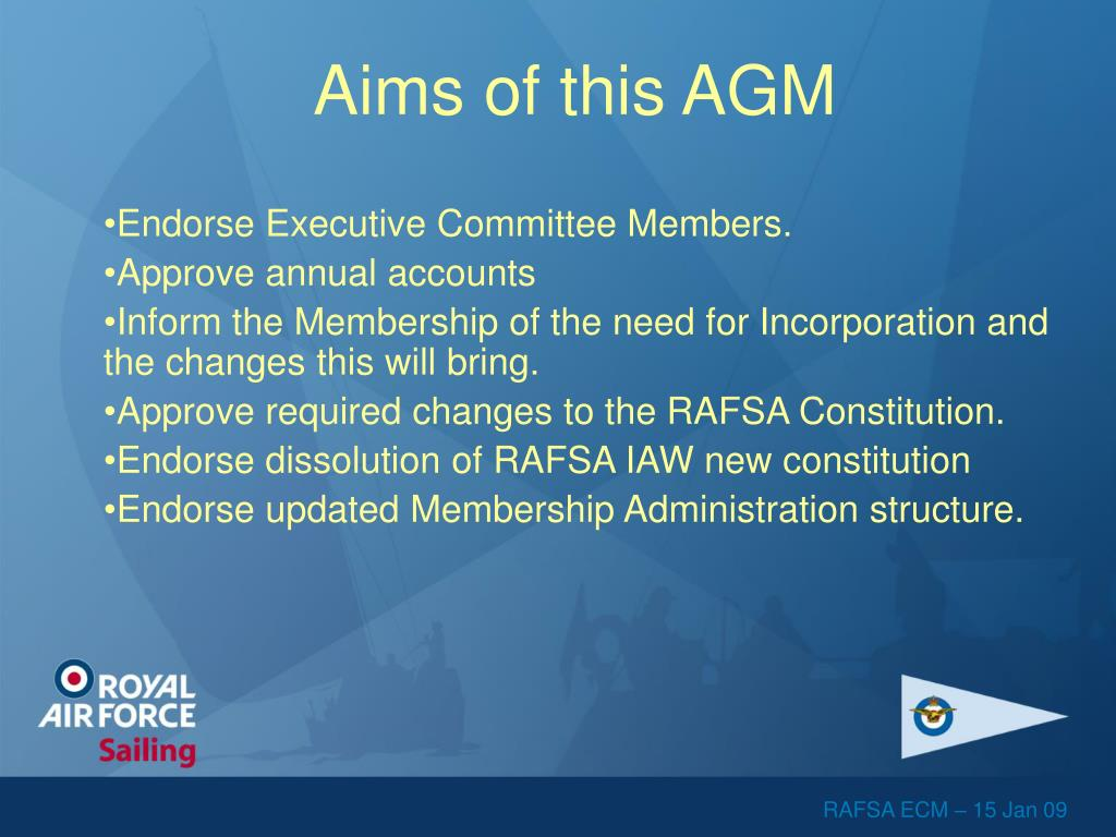 Aims of this AGM