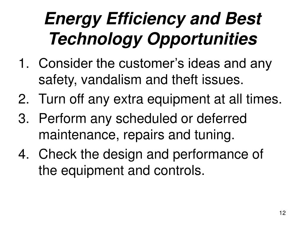 Energy Efficiency and Best Technology Opportunities