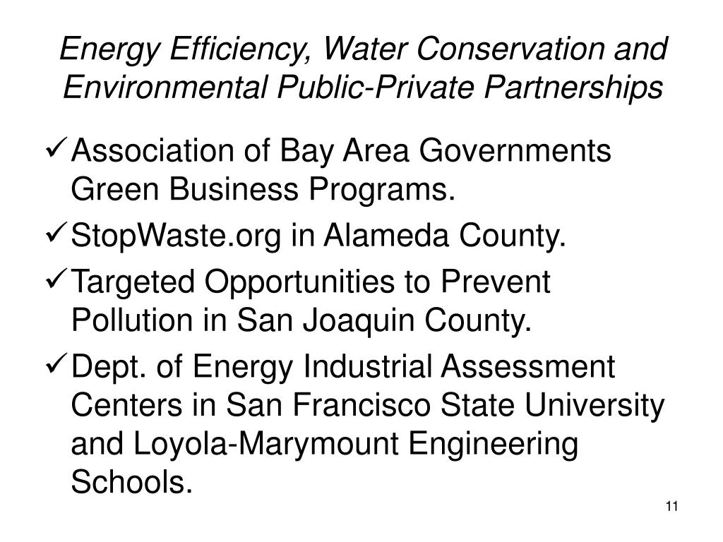Energy Efficiency, Water Conservation and Environmental Public-Private Partnerships