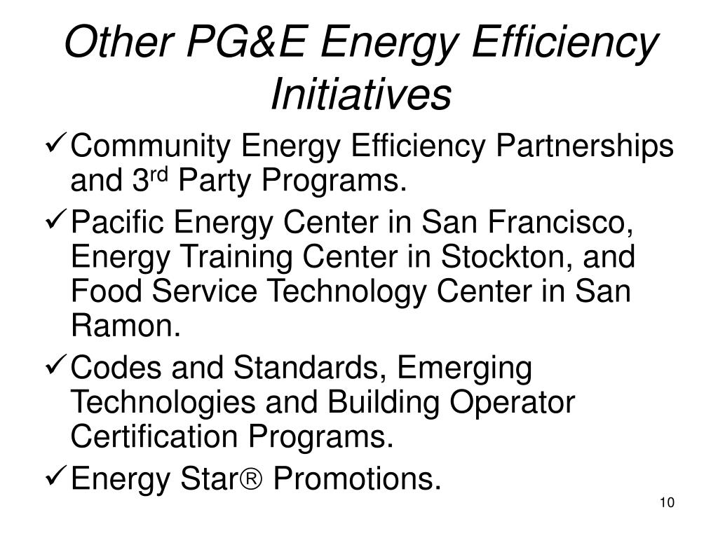 Other PG&E Energy Efficiency Initiatives